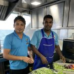 Kelum and Rokib in the kitchen of the Carpe Novo Maldives