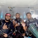Huseein, Cooky and Yaan dive team Carpe Novo Maldives