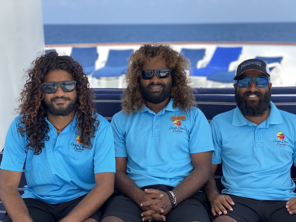 Munko, Chill and Reddey of dive team Carpe Diem Maldives