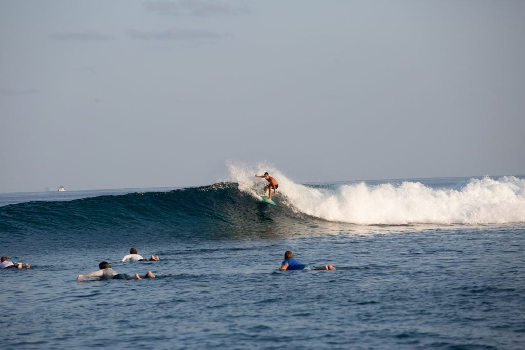 Wave surfing in the Maldives
